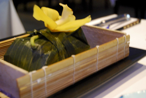 sea bass wrapped in bamboo box