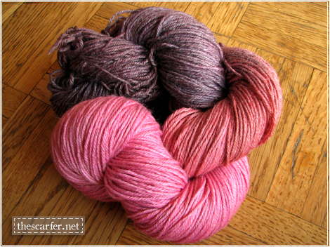 Superwash Merino-Bamboo Sock Yarn in Cherry & Bordeaux