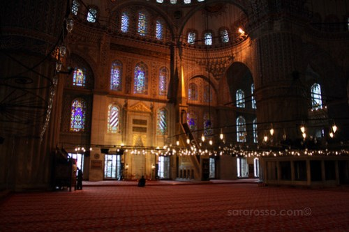 A lone worshipper in Blue Mosque, Istanbul, Turkey