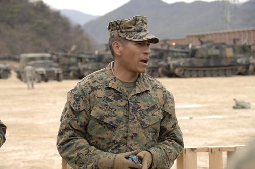 Marine Sergeant training South Korean troops