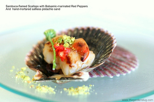 Sambuca-flamed scallops with Balsamic-marinated red peppers + pistachio sand