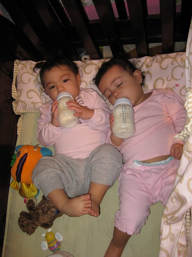 The girls with their morning bottles by you.