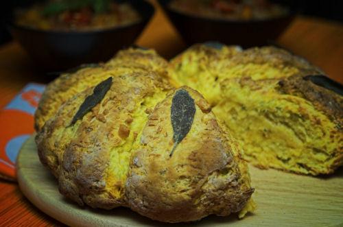 Pumpkin damper with parmesan and sage