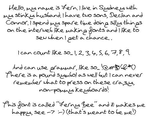Handwriting Font Sample