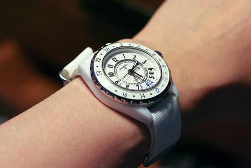 Chanel J12 replica on white NATO strap