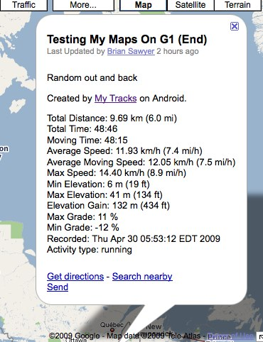 My Tracks on Google My Maps