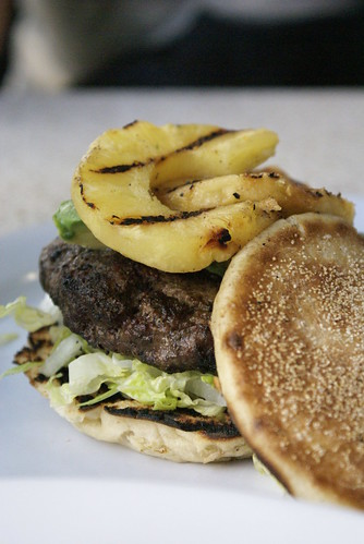 Grilled pineapple burger on english muffin