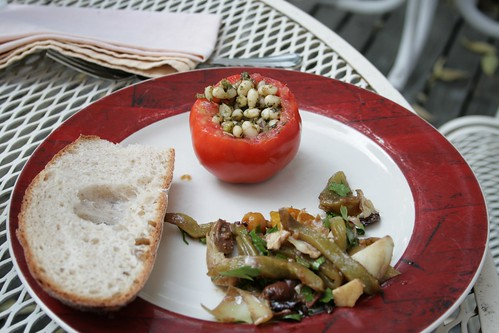 White beans pesto, homemade roasted pepper antipasto