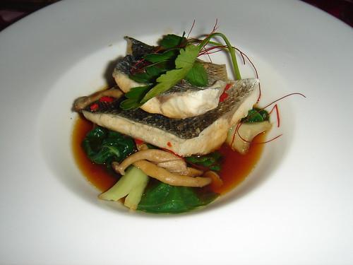 Seabass with chinese veg and shitake