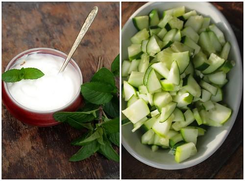 Yogurt cucumbers and mint