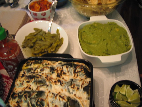 nopales, guacamole, roasted poblanos stuffed with garlic mashed potatoes smothered in Teese