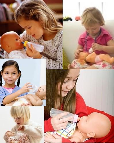 montage of children feeding dolls with bottles