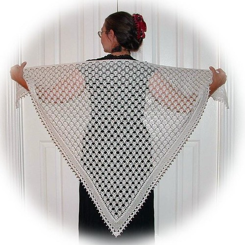 This a wonderful, wonderful crocheted shawl.  Beautiful!!