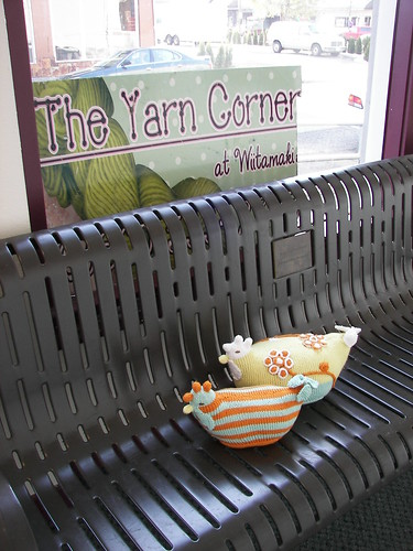 The girls and I visiting Sherri at The Yarn Corner.