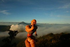 Big blue sky! Round mountain go boom boom !!  Reminds heman of snake mountain... But with less snake   heman likes!!!!