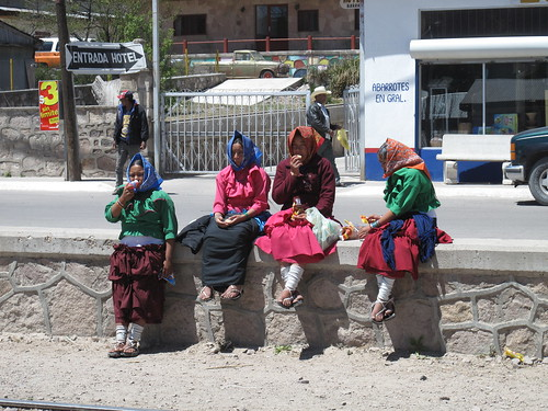 Tarahumara girls waiting for the train in Creel
