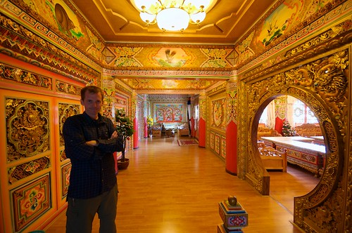 Self portrait in a very ornate hotel in Dawu, Tibet (China).