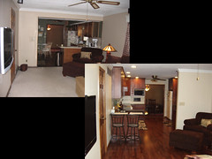 Kitchen Remodel, before and after, view from family room