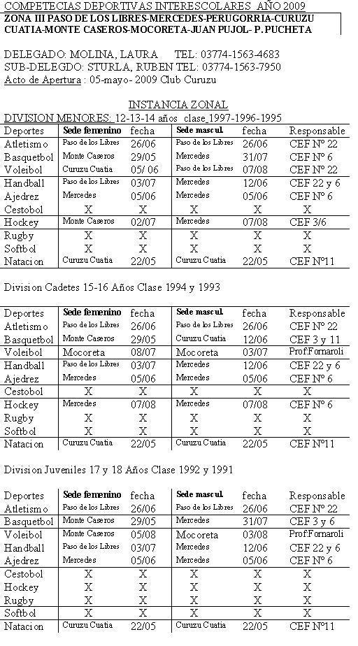 calendario competencia deportivas 2009