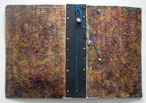 handmade journal, recycled cover (c) 2009 Lynne Medsker