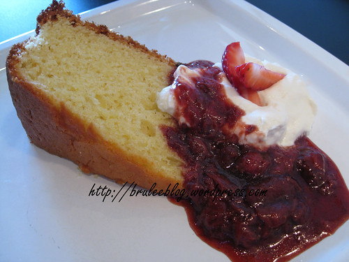 olive oil cake with strawberry and balsamic compote