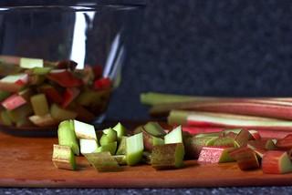 rhubarb, sliced on the diagonal