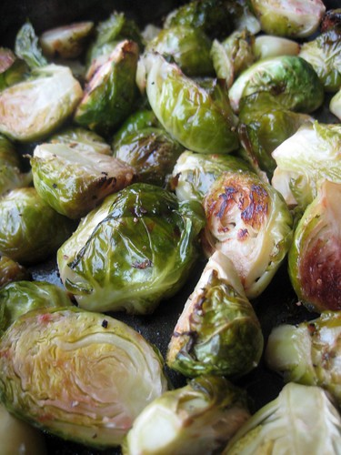 roasted brussels sprouts with blood orange and garlic!