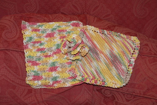 L-R: crocheted cloth, scrubby, knitted cloth