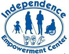 oval with person with cane, person standing, person in wheelchair, child with crutches, hands making signs