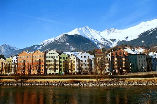 Buildings along the river, Innsbruck, Austria