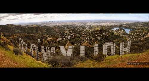 panoramic view of hollywood behind the world famous iconic sign