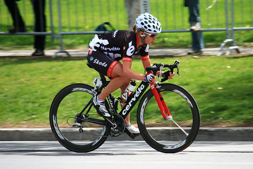 Women's Montreal UCI World Cup 2009 winner Emma Pooley of Britain on her Cervelo.