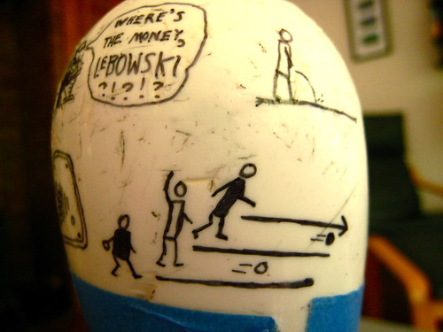 The Big Lebowski drawn on a bowling pin.