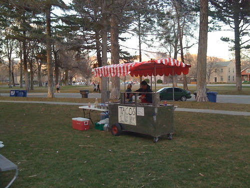 Taco Stand in Liberty Park as the sun sets on a beautiful spring day.