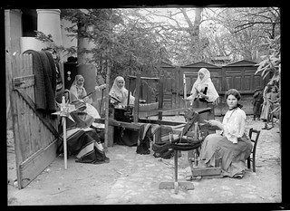 Romanian Women at looms