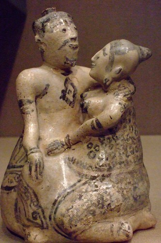 Affectionate couple Si Satchanalai Stoneware with underglaze Thailand 1350-1550 CE