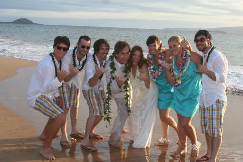 the wedding party complete with man of honor and funky plaid shorts