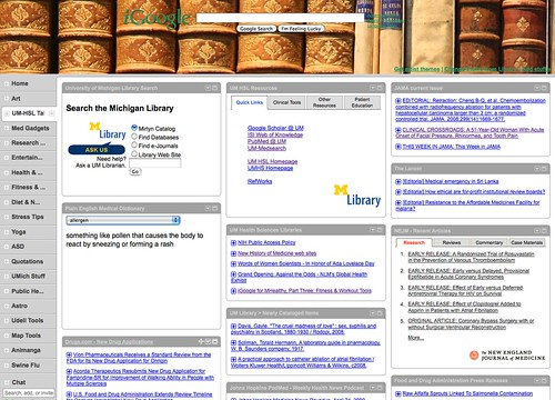 iGoogle Tab: UM Health Sciences Libraries