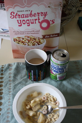 cereal, coffee, coconut water