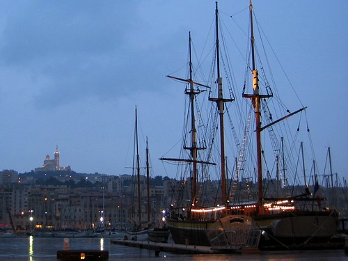 Vieux Port at night.