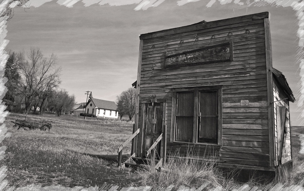 Old Storefront, Church and wagon in Antelope