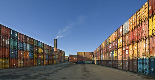 Uppsala combined heat and power plant. Containers with peat fuel.