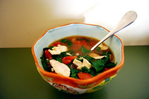Chicken, Tomatoes, Spinach in Broth