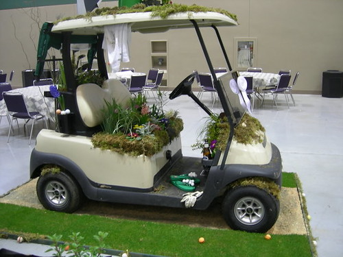Planted golf cart