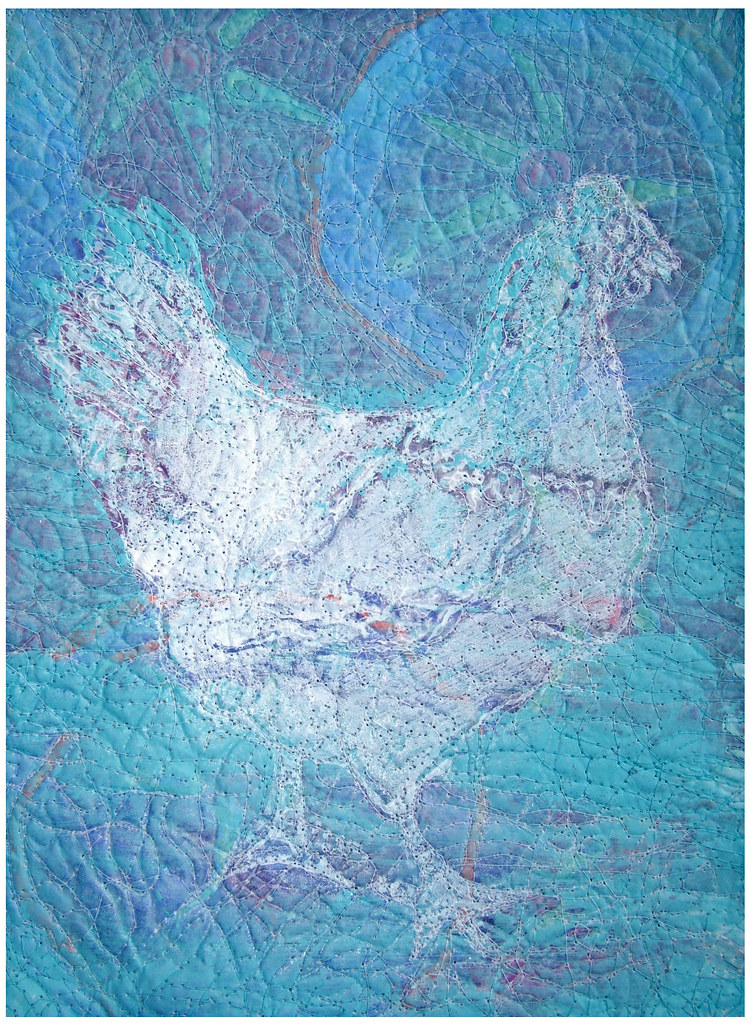 This chicken is a gelatin plate print positioned over a design paper and felt, then stitched.