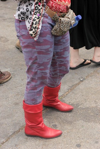 Red boots and 18 different patters