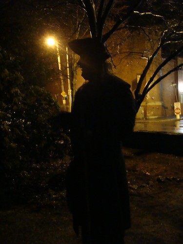 Our Ghost Tour tour guide, photo by Kate Hedin