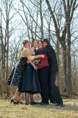 The brides, the man of honor & the bridesmaid/officiant.