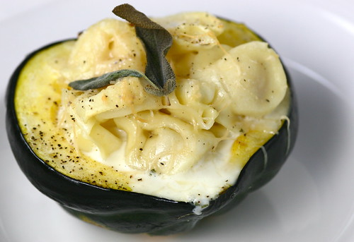 Roasted Acorn Squash with Cheese Tortellini