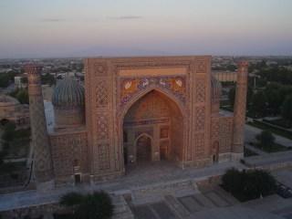 Vista da Praça de Registão em Samarcanda, Uzbequistão